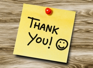 14169122 - thank you handwritten on a sticky note